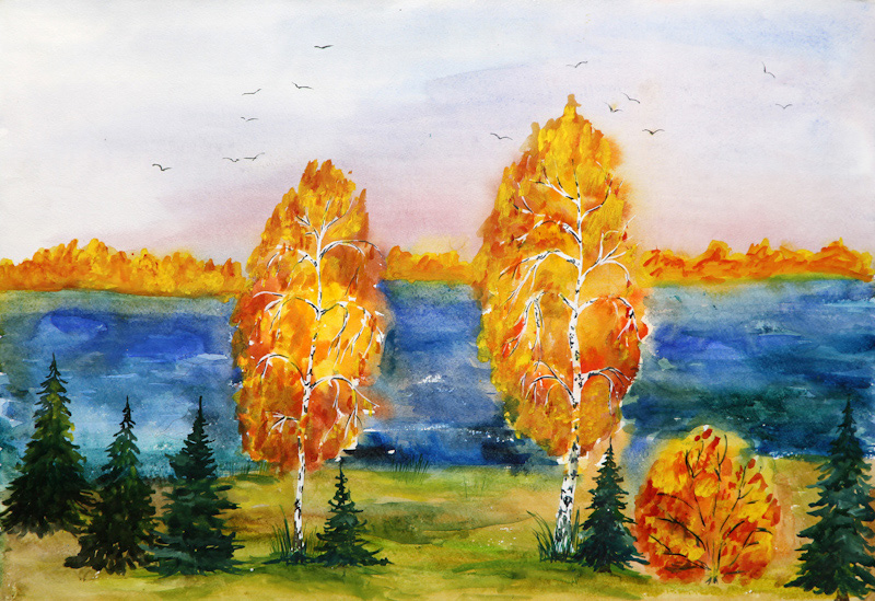 Картинки красками про осень дя детей